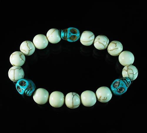 Wholesale 12pcs Turquoise Colorful Baby Blue Skull White Veins Beads Stretch Bracelet ZZ2110