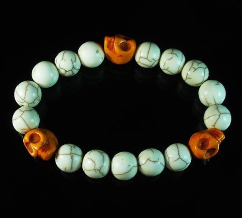 Wholesale 12pcs Turquoise Colorful Orange Skull White Veins Beads Stretch Bracelet ZZ2111
