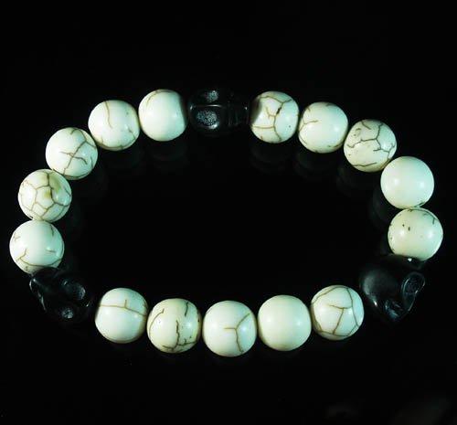 Wholesale 12pcs Turquoise Colorful Black Skull White Veins Beads Stretch Bracelet ZZ2112