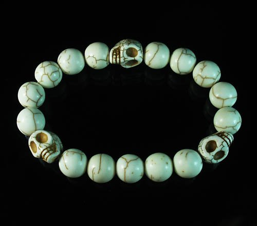 Wholesale 12pcs Turquoise Colorful White Skull White Veins Beads Stretch Bracelet ZZ2113