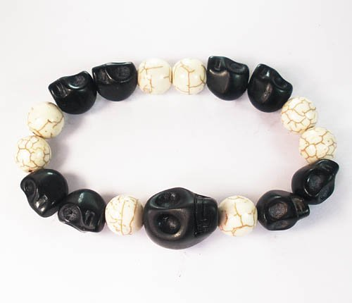 Wholesale 12pcs Turquoise Colorful Black Skull White Veins Beads Stretch Bracelet ZZ2155