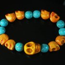 Wholesale 12pcs Turquoise Colorful Orange Skull Blue Veins Beads Stretch Bracelet ZZ2163