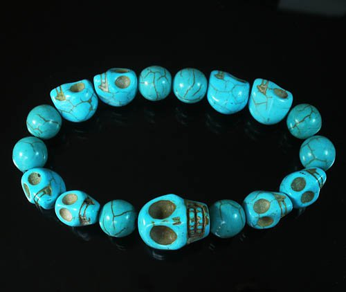 Wholesale 12pcs Turquoise Colorful Baby Blue Skull Blue Veins Beads Stretch Bracelet ZZ2167
