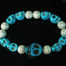 Wholesale 12pcs Turquoise Colorful Baby Blue Skull White Veins Beads Stretch Bracelet ZZ2169