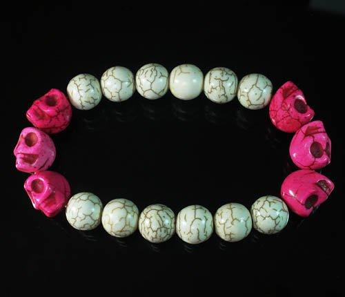 Wholesale 12pcs Turquoise Colorful Hot Pink Skull White Veins Beads Stretch Bracelet ZZ2170