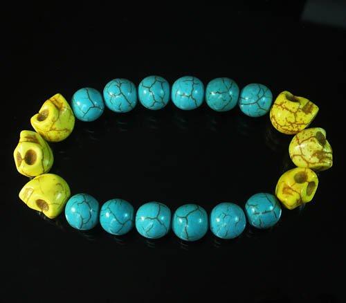 Wholesale 12pcs Turquoise Colorful Yellow Skull Blue Veins Beads Stretch Bracelet ZZ2171