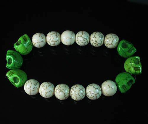 Wholesale 12pcs Turquoise Colorful Green Skull White Veins Beads Stretch Bracelet ZZ2172