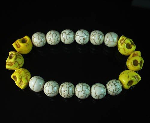 Wholesale 12pcs Turquoise Colorful Yellow Skull White Veins Beads Stretch Bracelet ZZ2174