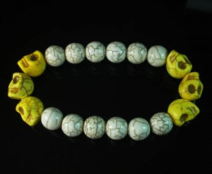 Wholesale 12pcs Turquoise Colorful Yellow Skull White Veins Beads Stretch Bracelet ZZ2174