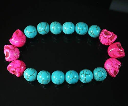 Wholesale 12pcs Turquoise Colorful Hot Pink Skull Blue Veins Beads Stretch Bracelet ZZ2177