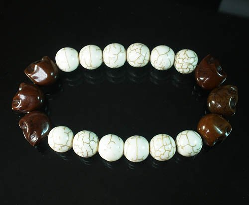 Wholesale 12pcs Turquoise Colorful Brown Skull White Veins Beads Stretch Bracelet ZZ2187