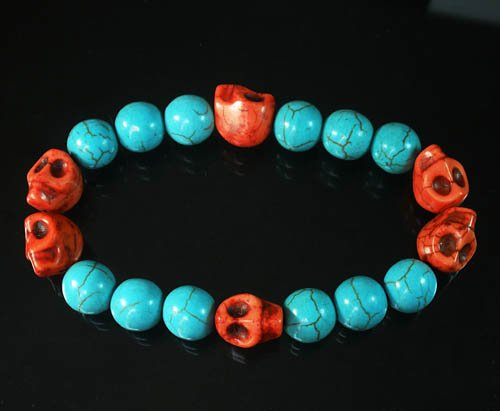 Wholesale 12pcs Turquoise Colorful Red Skull Blue Veins Beads Stretch Bracelet ZZ2193
