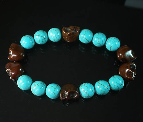 Wholesale 12pcs Turquoise Colorful Brown Skull Blue Veins Beads Stretch Bracelet ZZ2195