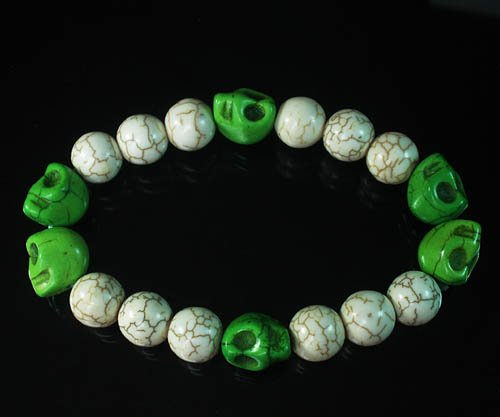 Wholesale 12pcs Turquoise Colorful Green Skull White Veins Beads Stretch Bracelet ZZ2197