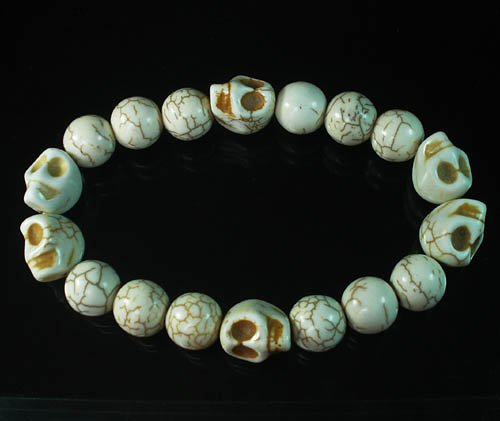 Wholesale 12pcs Turquoise Colorful White Skull White Veins Ball Beads Stretch Bracelet ZZ2201