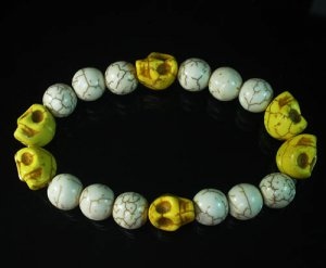 Wholesale 12pcs Turquoise Colorful Yellow Skull White Veins Beads Stretch Bracelet ZZ2203