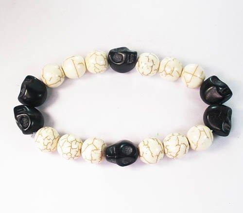 Wholesale 12pcs Turquoise Colorful Black Skull White Veins Beads Stretch Bracelet ZZ2208