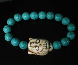 Wholesale 12pcs Turquoise White Buddha Baby Blue Veins Beads Bracelet ZZ2214