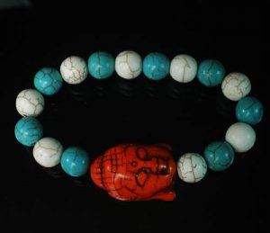 Wholesale 12pcs Turquoise Red Buddha White Baby Blue Veins Beads Bracelet ZZ2219