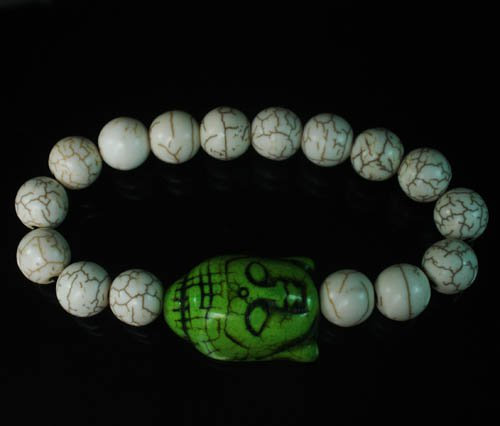 Wholesale 12pcs Turquoise Green Buddha White Veins Beads Stretch Bracelet ZZ2225