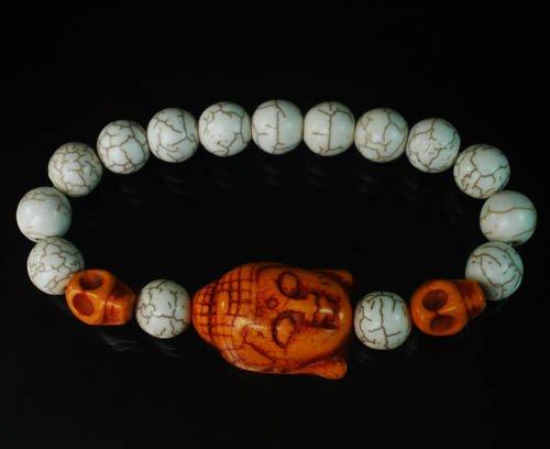 Wholesale 12pcs Turquoise Orange Buddha Skull White Veins Beads Stretch Bracelet ZZ2236