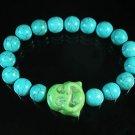 Wholesale 12pcs Turquoise Green Smile Buddha Blue Veins Beads Stretch Bracelet ZZ2294