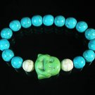 Wholesale 12pcs Turquoise Green Smile Buddha Blue White Veins Beads Stretch Bracelet ZZ2310