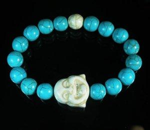 Wholesale 12pcs Turquoise White Smile Buddha Blue White Veins Beads Stretch Bracelet ZZ2321