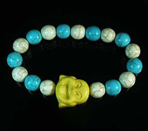 Wholesale 12pcs Turquoise Yellow Smile Buddha Blue White Veins Beads Stretch Bracelet ZZ2332