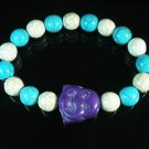 Wholesale 12pcs Turquoise Purple Smile Buddha Blue White Veins Beads Stretch Bracelet ZZ2333