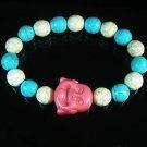 Wholesale 12pcs Turquoise Pink Smile Buddha Blue White Veins Beads Stretch Bracelet ZZ2335