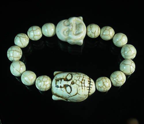 Wholesale 12pcs Turquoise White Buddha White Veins Beads Stretch Bracelet ZZ2351