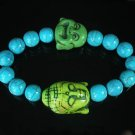 Wholesale 12pcs Turquoise Green Buddha Blue Veins Beads Stretch Bracelet ZZ2356
