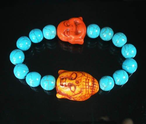 Wholesale 12pcs Turquoise Orange Buddha Blue Veins Beads Stretch Bracelet ZZ2357