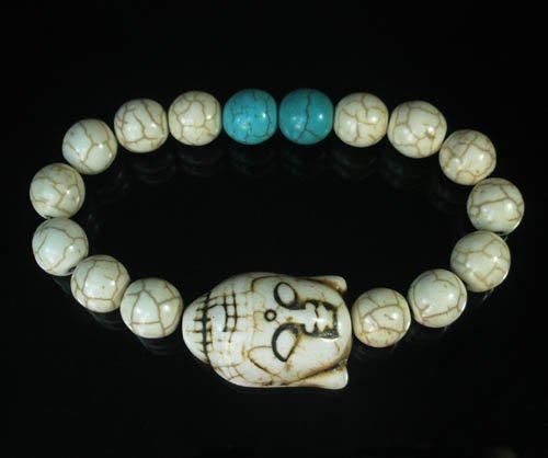 Wholesale 12pcs Turquoise White Buddha White Blue Veins Beads Stretch Bracelet ZZ2370