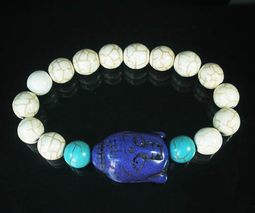 Wholesale 12pcs Turquoise Blue Buddha White Blue Veins Beads Stretch Bracelet ZZ2382