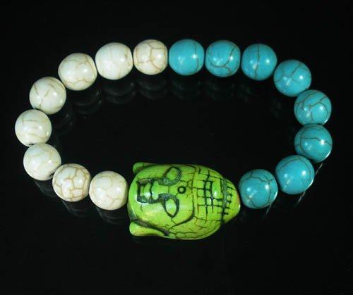 Wholesale 12pcs Turquoise Green Buddha White Blue Veins Beads Stretch Bracelet ZZ2393