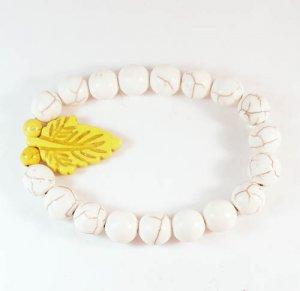 Wholesale 12pcs Turquoise Yellow Leaf White Veins Beads Stretch Bracelet ZZ2403