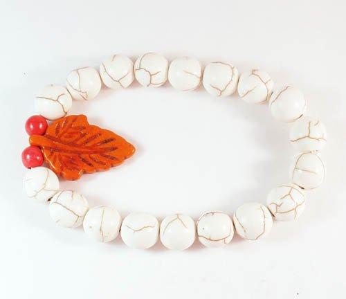 Wholesale 12pcs Turquoise Orange Leaf White Veins Beads Stretch Bracelet ZZ2407