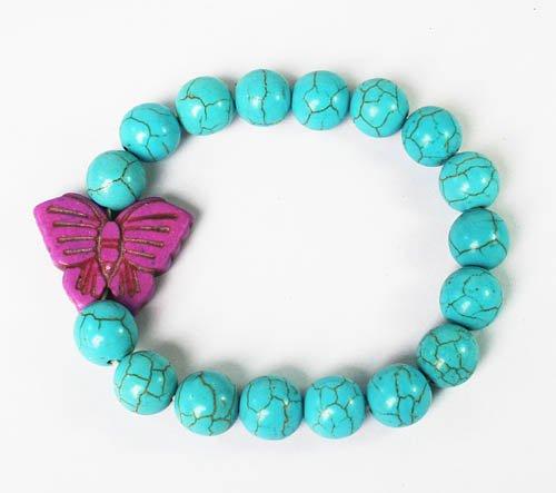 Wholesale 12pcs Turquoise Purple Butterfly Baby Blue Veins Beads Stretch Bracelet ZZ2418