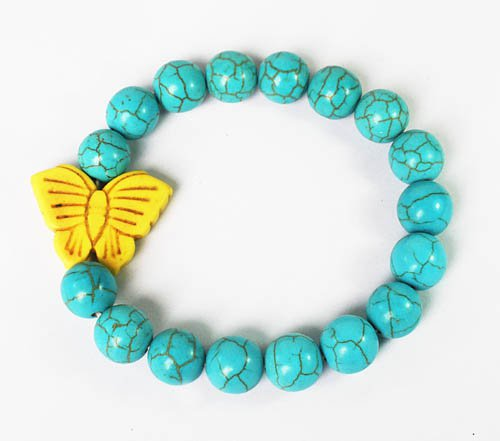 Wholesale 12pcs Turquoise Yellow Butterfly Baby Blue Veins Beads Stretch Bracelet ZZ2420