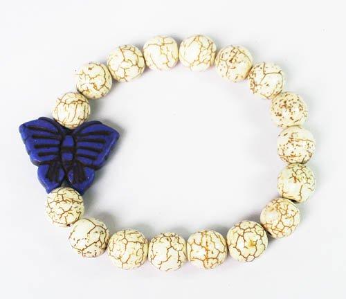 Wholesale 12pcs Turquoise Dark Blue Butterfly White Veins Beads Stretch Bracelet ZZ2426