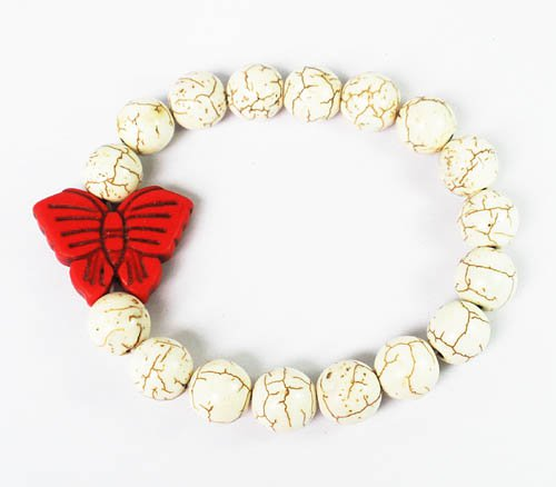 Wholesale 12pcs Turquoise Red Butterfly White Veins Beads Stretch Bracelet ZZ2429