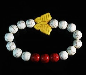 Wholesale 12pcs Turquoise Yellow Butterfly Red White Veins Beads Stretch Bracelet ZZ2445