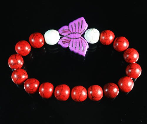 Wholesale 12pcs Turquoise Purple Butterfly Red White Veins Beads Stretch Bracelet ZZ2457