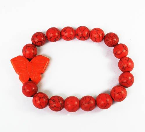 Wholesale 12pcs Turquoise Orange Butterfly Red Veins Beads Stretch Bracelet ZZ2464