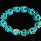 Wholesale 12pcs Turquoise Baby Blue Skull Beads Stretch Bracelet ZZ2394