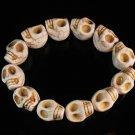 Wholesale 12pcs Turquoise White Skull Beads Stretch Bracelet for Men ZZ2397