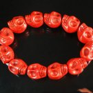 Wholesale 12pcs Turquoise Red Skull Beads Stretch Bracelet for Men ZZ2398