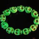 Wholesale 12pcs Turquoise Green Skull Beads Stretch Bracelet for Men ZZ2399